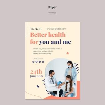 Verticale flyersjabloon voor gezondheidszorg met mensen die een medisch masker dragen