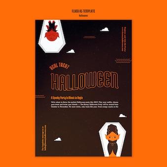Verticale flyersjabloon voor halloween met vampier in doodskist