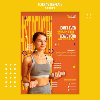 Verticale flyersjabloon voor sport met motiverende citaten