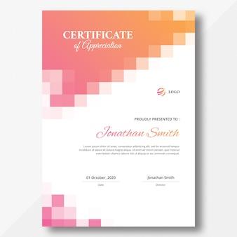 Verticale gekleurde mozaïek certificaatsjabloon