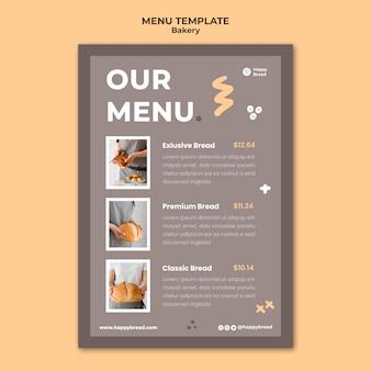 Verticale menusjabloon voor broodwinkel