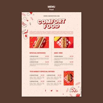 Verticale menusjabloon voor hotdog-comfortvoedsel
