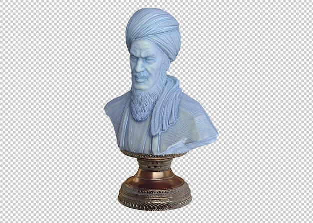 Verticale opname van een buste-filosoof geïsoleerd