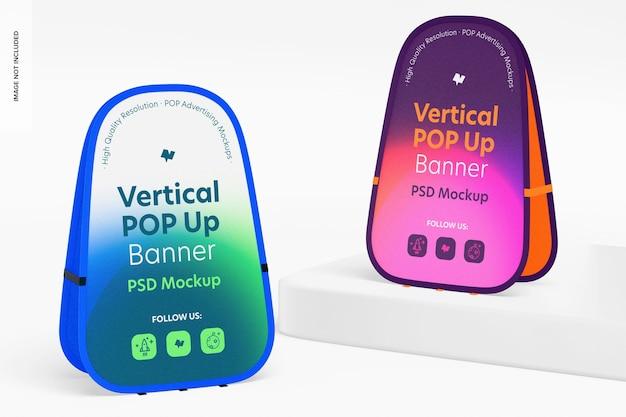 Verticale pop-up banners mockup, perspectief