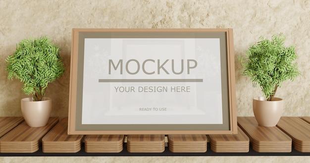 Verticale poster frame mockup op wandplank met planten decoratie