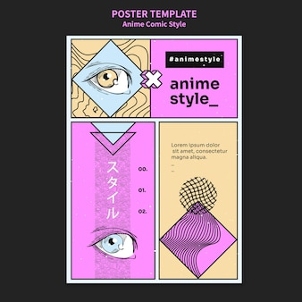 Verticale poster in anime komische stijl