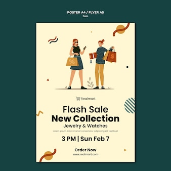 Verticale poster sjabloon te koop met vrouwen en boodschappentassen
