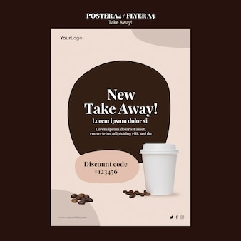 Verticale poster sjabloon voor afhaalkoffie