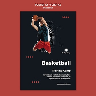 Verticale poster sjabloon voor basketbal trainingskamp