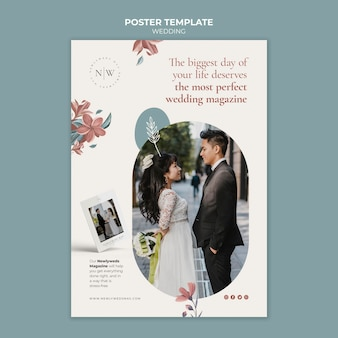 Verticale poster sjabloon voor bloemenhuwelijk
