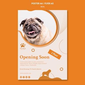 Verticale poster sjabloon voor dierenwinkel met hond
