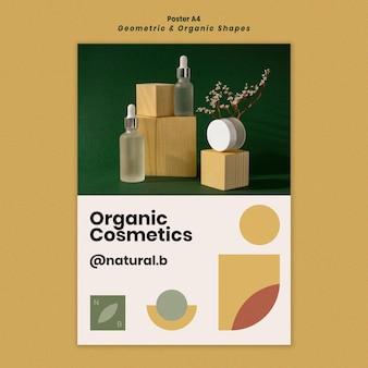 Verticale poster sjabloon voor etherische olie fles podium met geometrische vormen