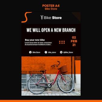Verticale poster sjabloon voor fietsenwinkel