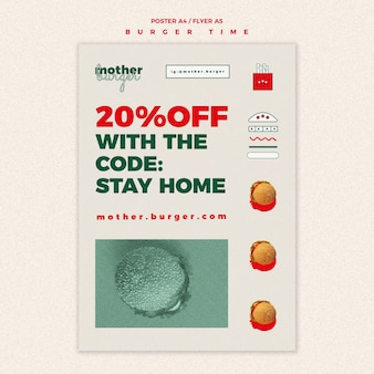 Verticale poster sjabloon voor hamburgerrestaurant
