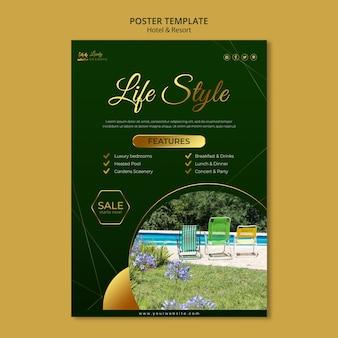 Verticale poster sjabloon voor hotel en resort