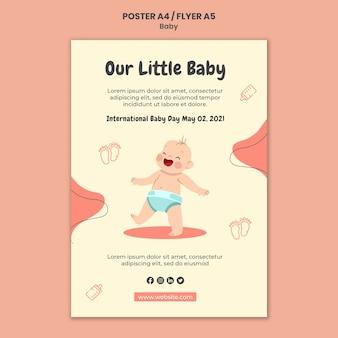 Verticale poster sjabloon voor internationale babydag