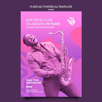 Verticale poster sjabloon voor jazzfestival en club