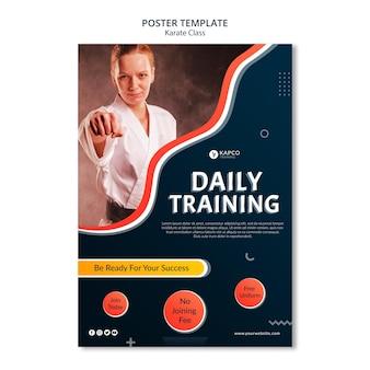 Verticale poster sjabloon voor karateklas voor vrouwen