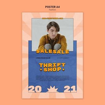 Verticale poster sjabloon voor kringloopwinkel mode verkoop