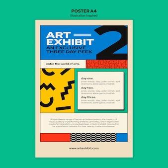 Verticale poster sjabloon voor kunsttentoonstelling