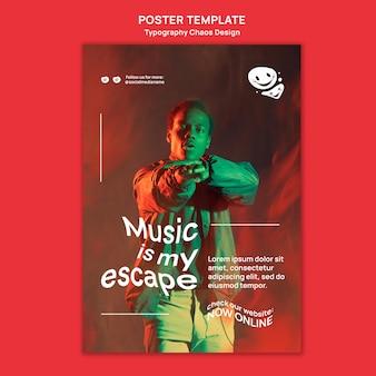 Verticale poster sjabloon voor muziek met man en mist