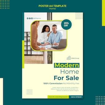 Verticale poster sjabloon voor nieuwe gezinswoning