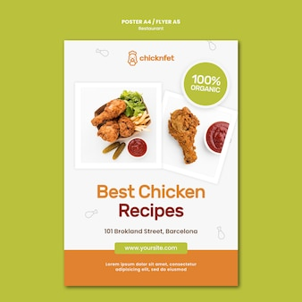Verticale poster sjabloon voor restaurant met gebakken kipschotel