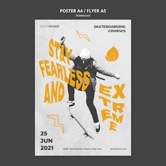 Verticale poster sjabloon voor skateboarden met vrouw