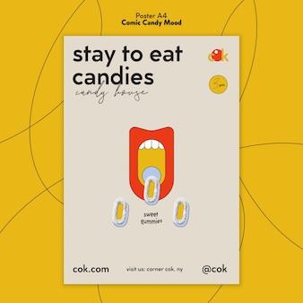 Verticale poster sjabloon voor snoepjes in komische stijl