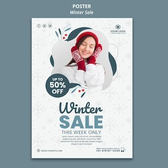 Verticale poster sjabloon voor winterverkoop