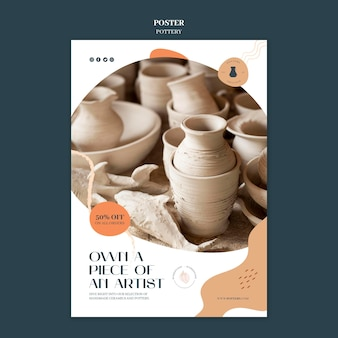 Verticale poster voor aardewerk met aarden vaten