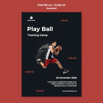 Verticale poster voor basketbal trainingskamp