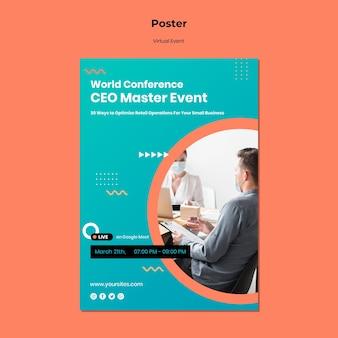 Verticale poster voor ceo-masterevenementconferentie