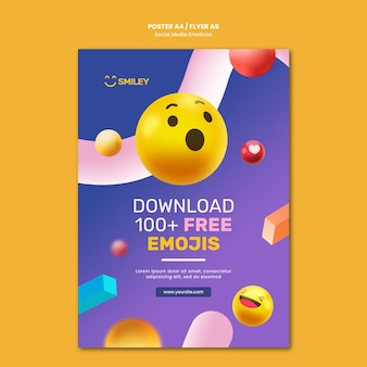Verticale poster voor emoticons voor sociale media-apps