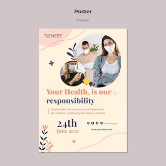 Verticale poster voor gezondheidszorg met mensen die een medisch masker dragen