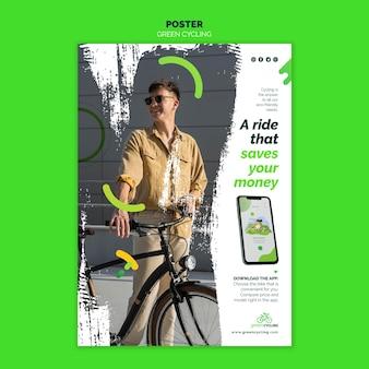 Verticale poster voor groen fietsen