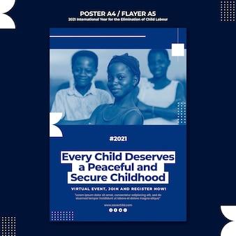 Verticale poster voor het internationale jaar voor de uitbanning van kinderarbeid