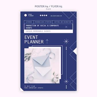 Verticale poster voor het plannen van sociale en zakelijke evenementen