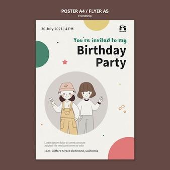 Verticale poster voor internationale vriendschapsdag met vrienden