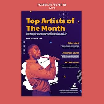 Verticale poster voor jazzmuziekevenement