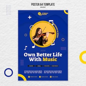 Verticale poster voor live muziekstreaming Gratis Psd