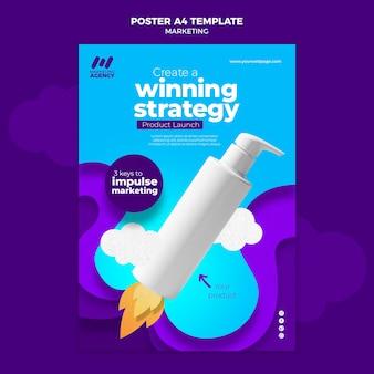 Verticale poster voor marketingbedrijf met product