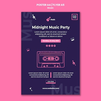 Verticale poster voor muziekfeest