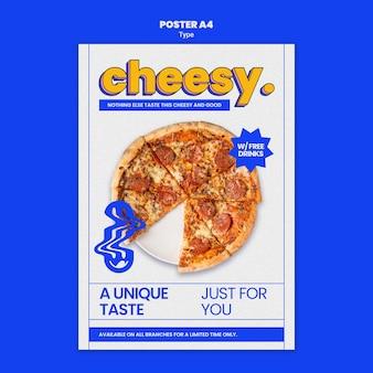 Verticale poster voor nieuwe kaasachtige pizzasmaak