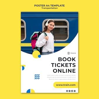 Verticale poster voor openbaar vervoer per trein met vrouw