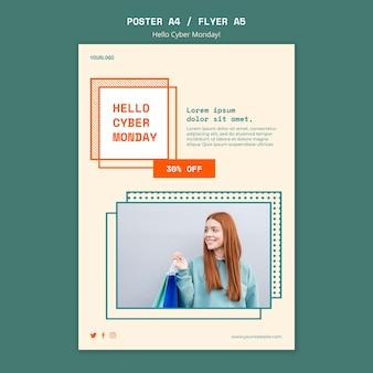 Verticale poster voor opruiming van cyber maandag