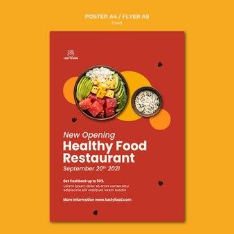 Verticale poster voor restaurant met kom met gezond voedsel