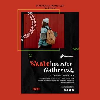 Verticale poster voor skateboarden met vrouw