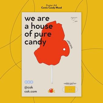 Verticale poster voor snoepjes in komische stijl