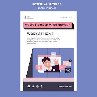 Verticale poster voor thuiswerken